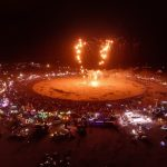 Aerial shot of The Man burn at Burning Man 2014. Screengrab from livestream video shot with DJI Phantom 2 and GoPro 3+ Black, beamed back to webcast1 via DJI Lightbridge. Burning Man 2014.