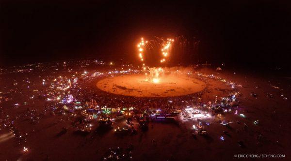 Aerial shot of The Man burn at Burning Man 2014. Screengrab from livestream video shot with DJI Phantom 2 and GoPro 3+ Black, beamed back to webcast1 via DJI Lightbridge. Burning Man 2014.